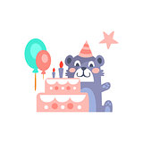 Teddy Bear With Party Attributes Girly Stylized Funky Sticker