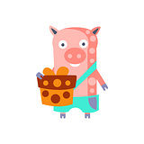 Pig With Party Attributes Girly Stylized Funky Sticker