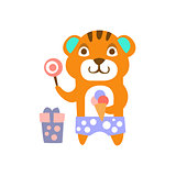 Tiger With Party Attributes Girly Stylized Funky Sticker