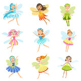 Cute Fairies In Pretty Dresses Girly Cartoon Characters Collection