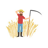 Bearded Farmer With Scythe And Wheat Field