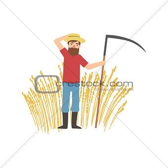 Bearded Farmer With Scythe And Wheat Field