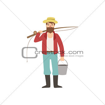 Bearded Man With Fishing Rod And Bucket