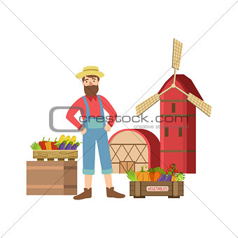 Bearded Farmer Selling Vegetables In Small Town