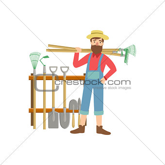 Bearded Man With Stack Of Farming Equipment