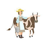 Milkmaid With Cow And Metal Bucket  Milk
