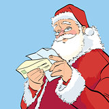 Santa Claus reading a Christmas letter
