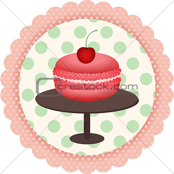French macaroon round sticker