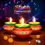 Shubh Deepawali Happy Diwali background with watercolor diya for light festival of India