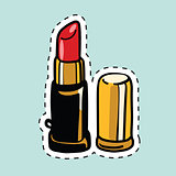 Red lipstick, sticker label
