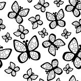 Beautiful seamless butterflies pattern in black and white colors.