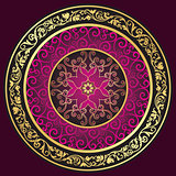 Round gold-purple-vintage pattern
