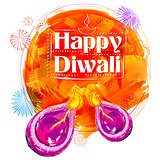 Burning watercolor diya on Happy Diwali Holiday background for light festival of India