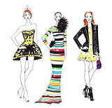 Fashion Sketch of Three Beautiful Women