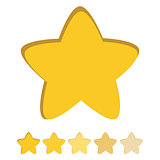 Isolated gold and yellow star icons in set, ranking mark