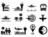 airport with plane icons set