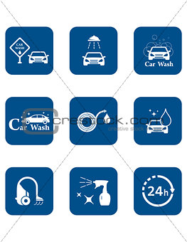 car wash blue icon set