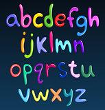 Lower case colorful spaghetti alphabet