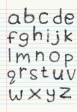 Lower case scribble alphabet on notebook paper