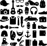 Vector illustration set of fashion accessories and men clothing style