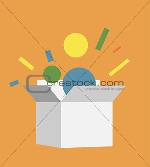 Flat style vector illustration box icon