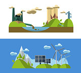 Flat design concept  with icons of ecology, green energy