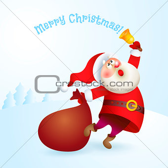 Santa Claus with a bag and bell.