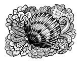Zentangle stylized seashell with doodle swirls and leaves. Hand Drawn aquatic vector illustration. Sketch for tattoo or mehendi. Ocean life.