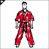 Martial arts. Karate fighters silquette high kick. Vector. EPS.