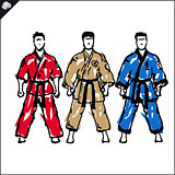 Martial arts. Karate fighters silquette . Vector. EPS.