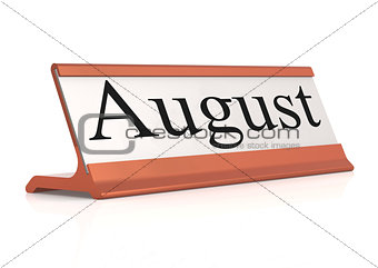 August word on table tag isolated
