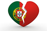 Broken white heart shape with Portugal flag