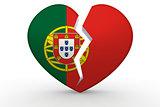 Broken white heart shape with Portugal flag
