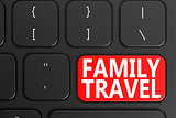 Family Travel on black keyboard