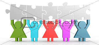 Five people hold puzzle in a line