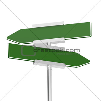 Green signboard with metal pole, isolated with white background