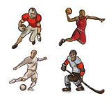 Football , basketball player, hokeist isolated on a white background. vector