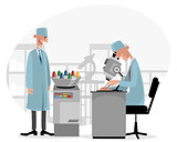 Two doctors in laboratory