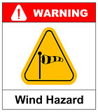 Vector illustration of triangle traffic sign for strong wind