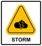 Storm Hazard sign. Vector sign for outdoor.