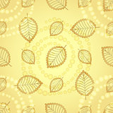 Bright seamless pattern with gold decorative leaves