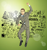 Vector Businessman With Hands Up