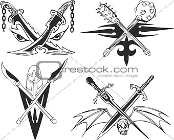 Crossed daggers, swords and maces