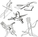 Black and white sketches of blades and old weapon