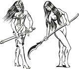Set of two sexy amazon women with blades