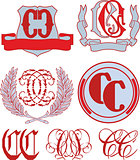 Set of CC monograms and emblem templates