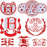 Set of EE monograms and emblem templates