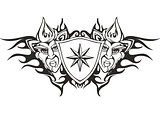Tribal flame tattoo template with a star