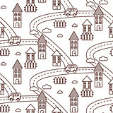 Outline village seamless pattern.