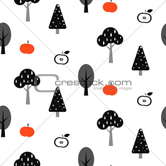 Black tree forest seamless pattern with apples.